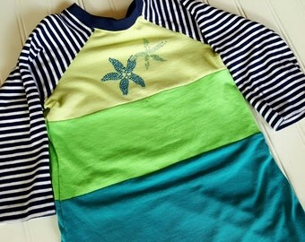 Size 3T Upcycled T Shirt dress. Seashore