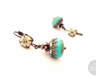Turquoise copper Boho dangle earrings hand crafted, handsculpted polymer clay, glass beads, copper plated, boheme earrings, ethnic earrings