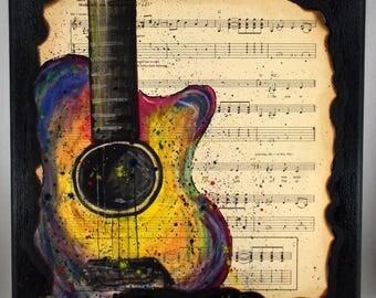 Guitar Mixed Media Sheet Music song lyrics with watercolor guitar, 10 x 10 inches