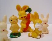 Vintage Gurley Easter Candles Bunny Rabbits Baby Chicks Easter Decor Collectible Gurley