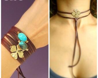 Leather wrap clover bracelet or necklace combination, four leaf clover, shamrock, bohemian, boho, Otis B, good luck, lucky charm, graduation