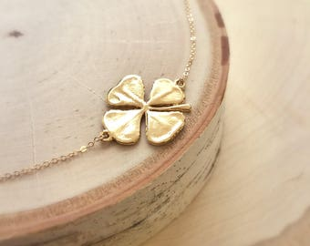 Lucky four leaf clover necklace, good luck charm, real shamrock, March birthday, st patricks day, graduation gift, Otis B, botanical jewelry