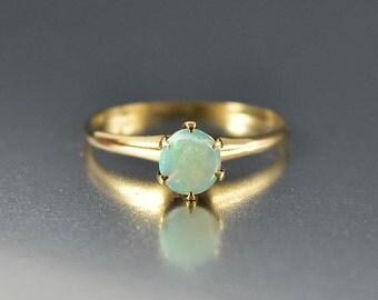 Edwardian Opal Ring, Opal Engagement Ring, Gold Antique Engagement Ring, Alternative Wedding Ring, Edwardian Ring, Antique Birthstone Ring