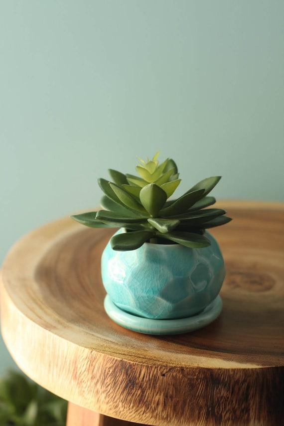 aqua faceted succulent planter