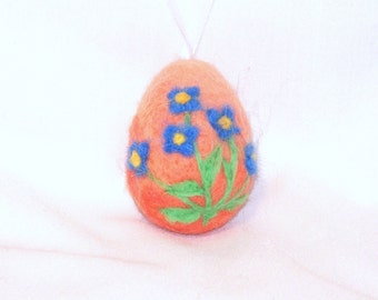 Easter Egg -  Mini Ornament - Needle Felted Egg - Blue Forget Me Not Flower on Peach Orange Egg - Easter Felt - Needle felting - Easter Gift