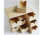 Ikea Fira Birch Wooden Storage Chest Box with 9 Drawers Wood Desktop Organizer