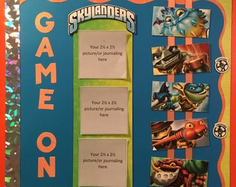 Skylanders Game On 12 x 12 premade scrapbook page - my favorite things