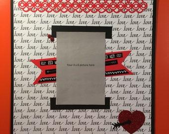 Love 12 x 12 premade scrapbook page Valentine's Day