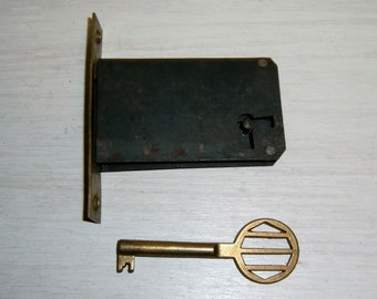 Antique LOCK Brass KEY set HARDWARE door drawer chest box trunk old vintage antique deadbolt Belgium