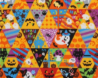 198214 orange ghosts pumpkins triangle Cosmo Halloween fabric