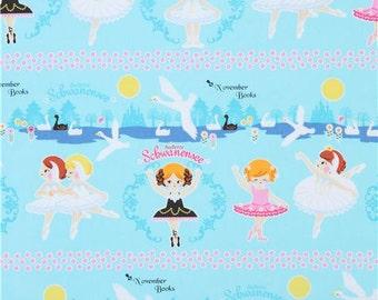 213046 blue cute ballet dancer swan oxford fabric by Kokka