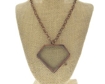 Locket Necklac diamon  Vintage copper--Our Glass Frame Pendant, with chain , sold by each