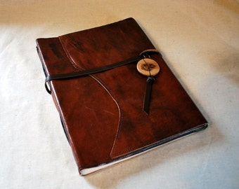 Extra Large Burnt Umber Leather Journal with Recycled Paper