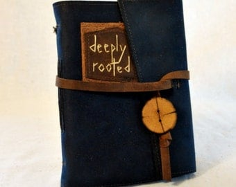 SUMMER SALE:  Deeply Rooted Blue Leather Journal with Handmade Paper- Medium