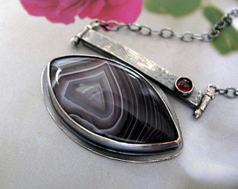 Sterling Silver Pendant Necklace, Botswana Agate, Handmade Sterling Silver Jewelry