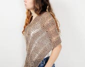 Hand knit little cotton poncho knit scarf knit shrug almond woman sweater