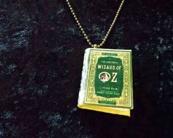 Wizard of Oz Mini Book Pendant - The Wizard of Oz Jewelry - Book Jewelry, The Wizard of Oz, L. Frank Baum Book Pendant, Wizard of Oz Jewelry
