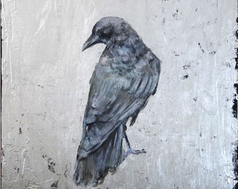 Silver Crow by Ingrid Blixt- original painting and silver leaf on wood panel