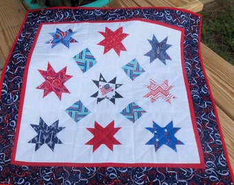 Patriotic Table Runner/ Wall Hanging - Table Quilt - Red, White and Blue - Stars - USA Flag - Independance Day -  Qultsy Handmade