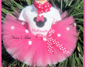 Hot Pink  Minnie, Party Outfit,Silhouette,Number,  Minnie Mouse Birthday, Theme Parties,Personalized in Sizes  1yr thru 5yrs