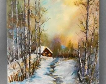 Original Painting Winter Mountain View Study