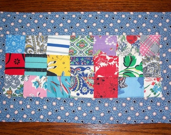 Mug Rug made with Vintage Quilt Top, Blue Snack Mat, Small Tablerunner, 1930's Fabrics
