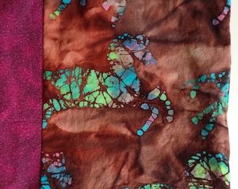 Tote bag, shoulder bag, boho handbag, horse batik. Purple brown turquoise. Lined, snap closure, handmade Life's an Expedition. Lhasa i888