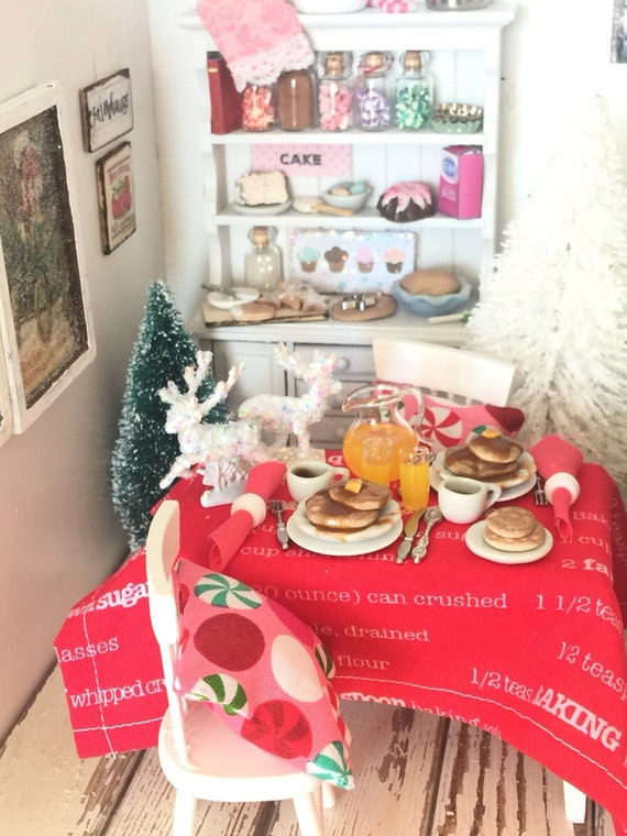 Miniature Dollhouse Christmas Morning Breakfast, Table, 2 Pillows and  Chairs