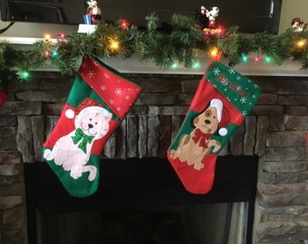 Christmas Stockings Cats and Dogs Monogrammed Pet stockings