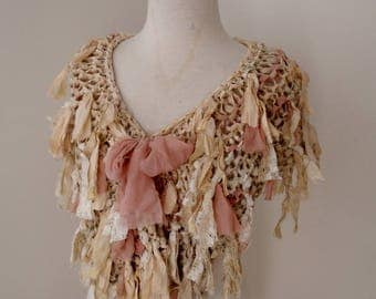 cream beige ivory ecru off white recycled silk hand knitted boho tattered rag scarf