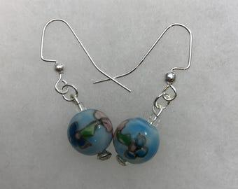 Silver Tone Blue Floral Beaded Dangle Pierced Earrings