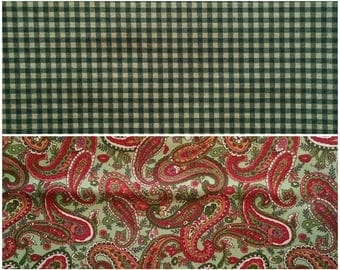 GN013 ~ Lot of 2 fabrics Green fabric Dark green fabric Green checks Red fabric Green paisley Red paisley Christmas colors Quilting Quilt