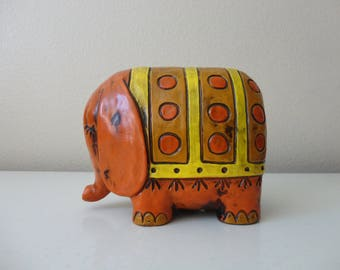 VINTAGE 1960s mod yellow and orange ELEPHANT coin BANK