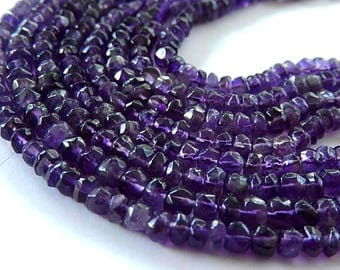 Amethyst Gemstone. Semi Precious Gemstone Bead.  Faceted Amethyst Rondelle  Gemstone, 3.5mm to 4mm.  Strand Your Choice (am)