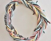T Shirt Scarf - Infinity Circle Scarves Recycled Cotton - Dark Gray Grey Pastel Light Yellow Baby Blue Powder Pink Salmon Charcoal