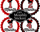 Monthly Baby Stickers Monthly Milestone Labels Baby Shower Gift Diy Printable Baby Stickers Baby Iron Ons