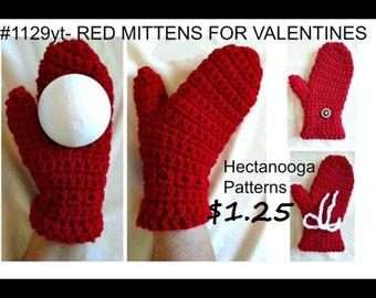 Crochet pattern - CROCHET MITTENS PATTERN - mittens crochet pattern, #1129yt, crochet pattern mittens,