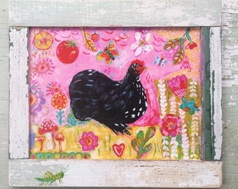 Folk Art Chicken Painting in a Rustic Frame