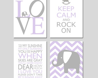 Baby Girl Nursery Decor Art - Chevron Elephant, Love, Keep Calm Rock On, You Are My Sunshine - Set of 4 Prints - CHOOSE YOUR COLORS