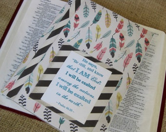 Legacy Prayer Journal, Bound Book, Multicolored Feathers with Black and White Diagonal Striped Accents
