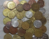 Vintage AMUSEMENT TOKENS (12)  Arcade Coins for Mixed Media Altered Art- Craft Supply- Metal- No Cash Value Coins- Brass & Silver Colored