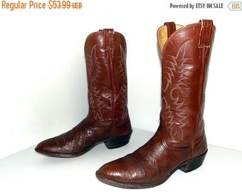 ON SALE Nocona cowboy boots with classic stitched design-  brown size 10.5 D or Cowgirl size 12