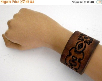 Repurposed Brown Leather Wrist Cuff Bracelet Reclaimed Unisex Jewelry  Boho Western Hippie
