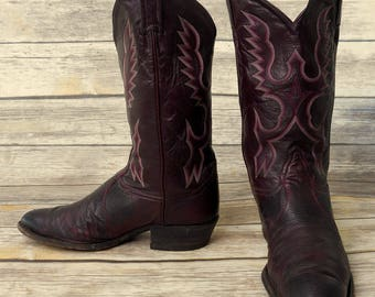 Tony Lama Lizard Cowboy Boots Mens Size 10.5 D Burgundy Wine Distressed Reptile