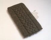 Hand Knit iPhone 6 Sock Cozy Case - Irish Aran Galway