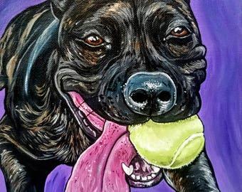 Custom Pet Portrait 8x8inch Original Painting, Acrylic Painting - Gift Art - Dog Portrait