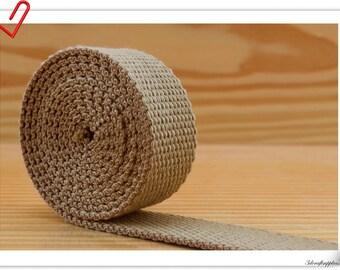 1.25 inch (32mm) Heavy weight Polyester Cotton webbing strap 5 yards khaki ZA41