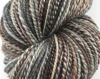 "Handspun Sport Yarn ""Agate"" 270 yards Merino Silk"