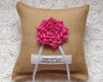 Burlap Ring Bearer Pillow, Personalized Wedding, Pink Wedding, Woodland Wedding, Rustic Wedding, Burlap Wedding Pillow, Ring Pillow, Flower