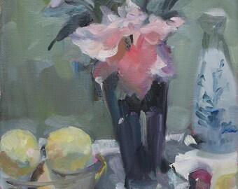 lemons and flowers oil painting -  original impressionistic oil painting - alla prima still life oil painting - artist Linda Hunt - 10x8 NEW